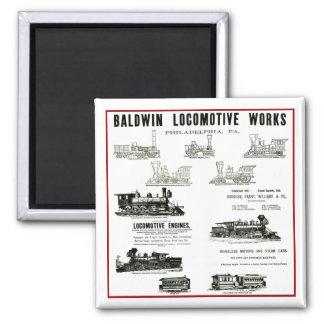 Baldwin Locomotive Works Square Magnet