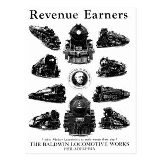 Baldwin Locomotives,Revenue Earners Postcard