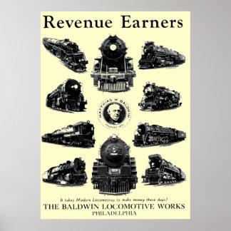 Baldwin Locomotives,Revenue Earners Poster