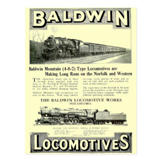 Baldwin Steam Locomotive Mountain Type in 1924 Postcard