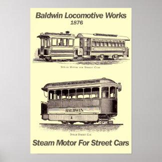 Baldwin Steam Motor For Street Cars 1876 Poster