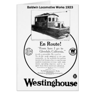 Baldwin-Westinghouse Locomotive 1923 Card