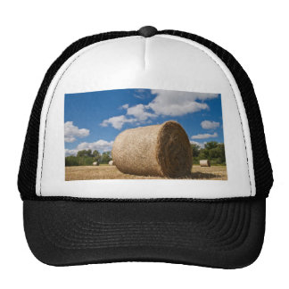 Bale of straw with clouds and blue sky mesh hat
