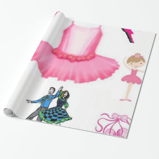 balerina pink dress gift wrapping paper