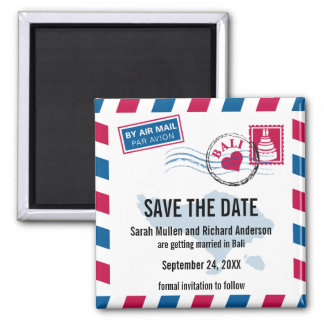 Bali Air Mail Wedding Save the Date Square Magnet