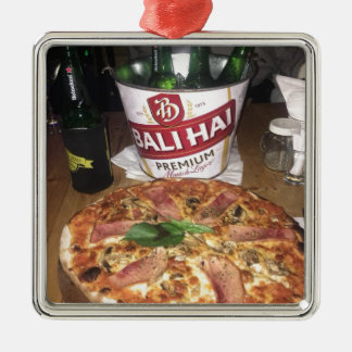 Bali beer and Pizza Metal Ornament