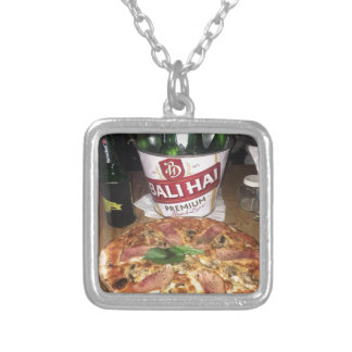 Bali beer and Pizza Silver Plated Necklace