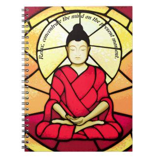 Bali buddha stain glass window notebook
