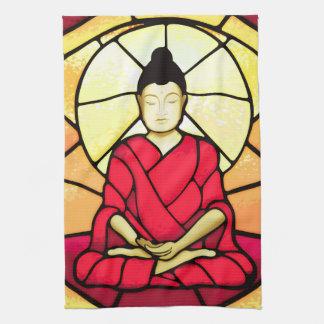 Bali buddha stain glass window tea towel
