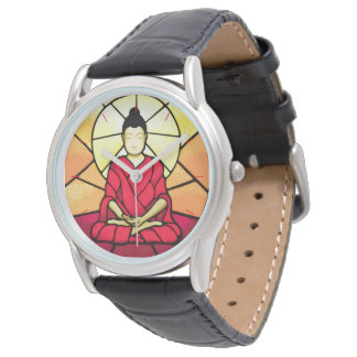 Bali buddha stain glass window watch