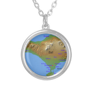 Bali Holliday Map Silver Plated Necklace