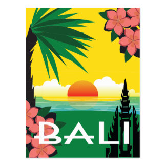 Bali Indonesia vintage travel style illustration Postcard