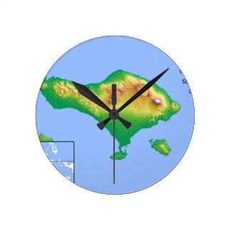 Bali Map Round Clock