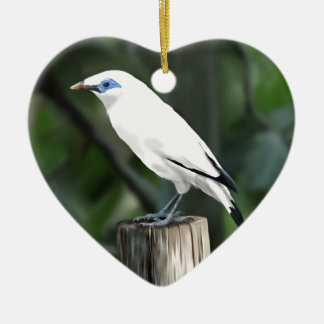 Bali Mynah Ceramic Heart Decoration