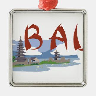 Bali Silver-Colored Square Decoration
