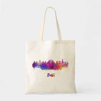 Bali skyline in watercolor tote bag