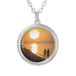 Bali sunrise on the beach silver plated necklace