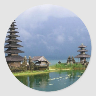 bali temple indonesia round sticker