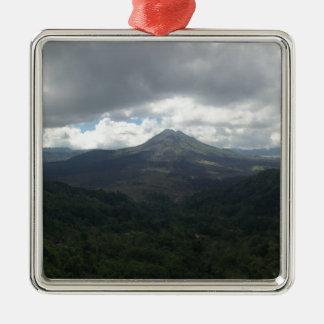 Bali Volcano Silver-Colored Square Decoration