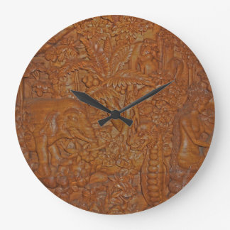 Bali Wood Carving Wall Clock
