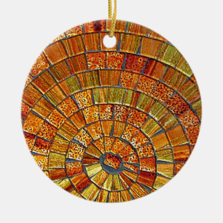 Balinese Glass Tile Art - Brown Round Ceramic Decoration