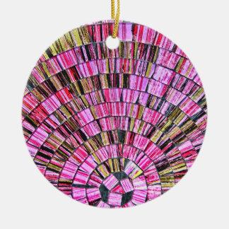 Balinese Glass Tile Art - Pink Christmas Tree Ornament