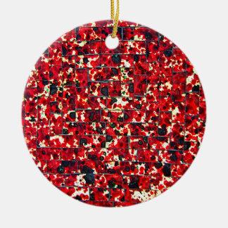 Balinese Glass Tile Art - Red Christmas Ornament