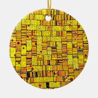 Balinese Glass Tile Art - Yellow Round Ceramic Decoration