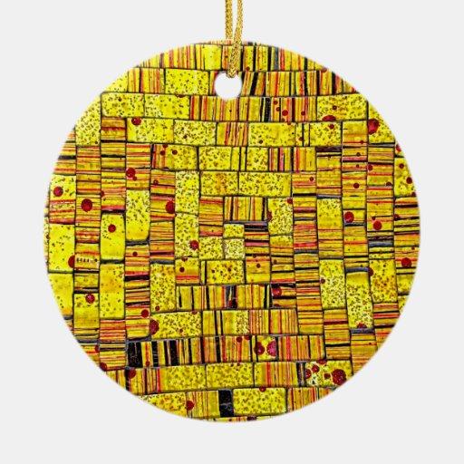 Balinese Glass Tile Art - Yellow Christmas Ornaments