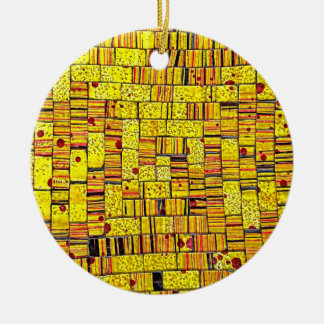 Balinese Glass Tile Art - Yellow Round Ceramic Decoration