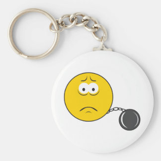 Ball and Chain Smiley Face Basic Round Button Key Ring