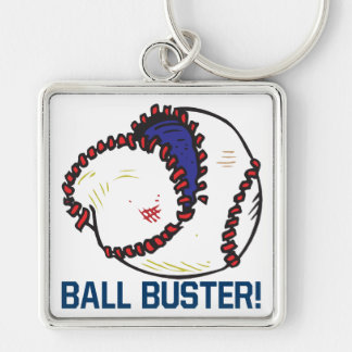 Ball Buster Silver-Colored Square Key Ring