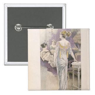 Ball gown, from 'Les Grandes Modes de Paris' 15 Cm Square Badge