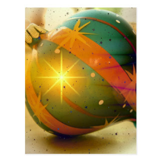 Ball Green Orange Christmas Tree Ornament Postcard