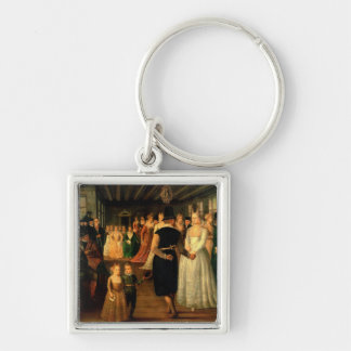Ball in Venice in Honour of Foreign Visitors Silver-Colored Square Key Ring