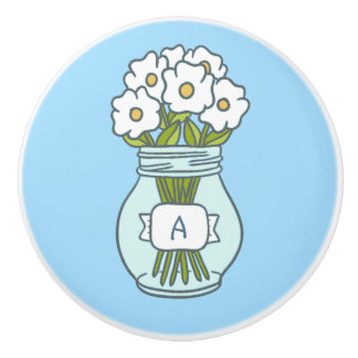 Ball Jar Flowers Ceramic Knob