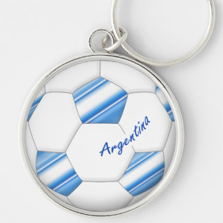 Ball of ARGENTINA SOCCER national selection 2014 Silver-Colored Round Key Ring