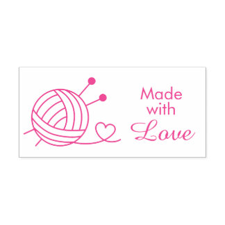 Ball of Knitting Yarn Craft - Made with Love Self-inking Stamp