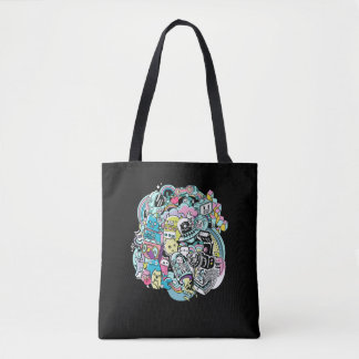 Ball of Robots Cartoon Tote Bag