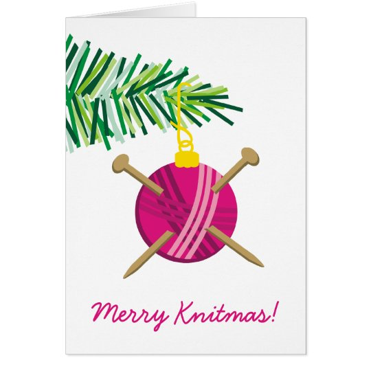 Ball of yarn knitting needles Christmas holiday Card