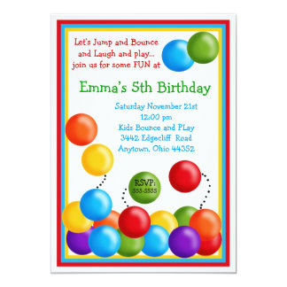 Ball Pit, Bounce House, Birthday Invitations