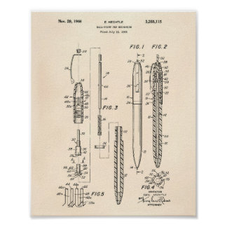 Ball Point Pen 1966 Patent Art Old Peper Poster