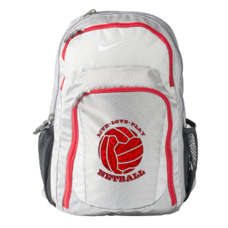 Ball Themed Typography Design Netball Backpack