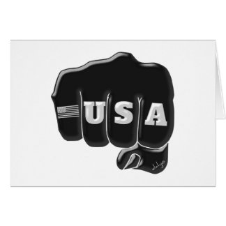 Balled Fist USA American Flag TATTOO Cards