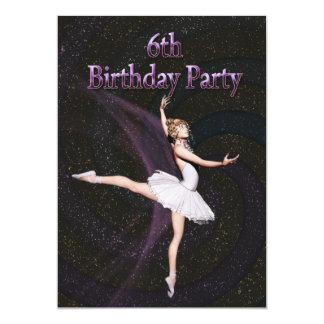 "Ballerina 6th Birthday party invitation 5"" X 7"" Invitation Card"