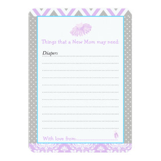 Ballerina Advice List for New Moms Baby Shower Card