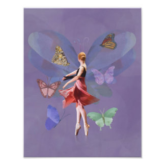 Ballerina and Butterflies Photographic Print