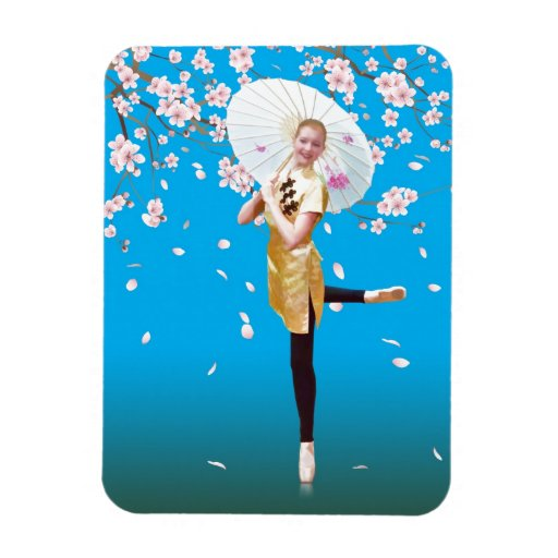 Ballerina and Cherry Blossoms Rectangle Magnets