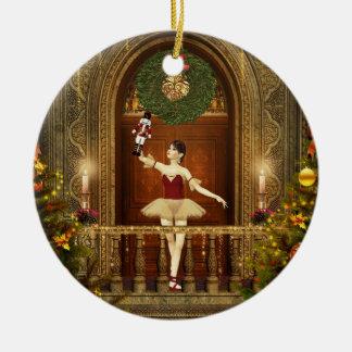 Ballerina and Nutcracker Christmas Round Ornament