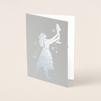 Ballerina and Nutcracker Dancing in the Snow Foil Card